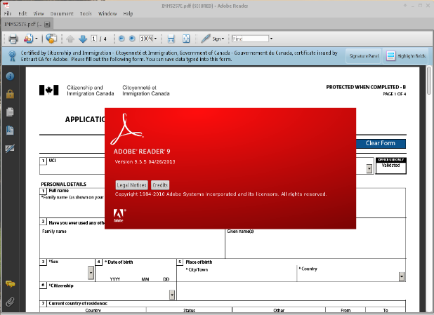Adobe Reader 9.5.5 on Debian Linux